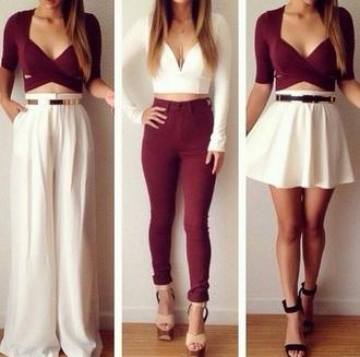 tank top white crop tops crop tops skirt white skirt pants