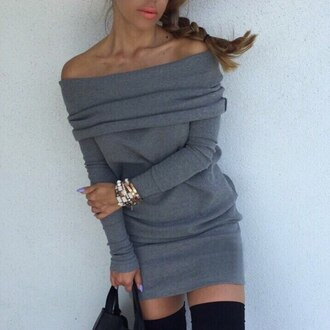 dress off the shoulder urban sexy fall outfits winter outfits pretty cozy sweater dress