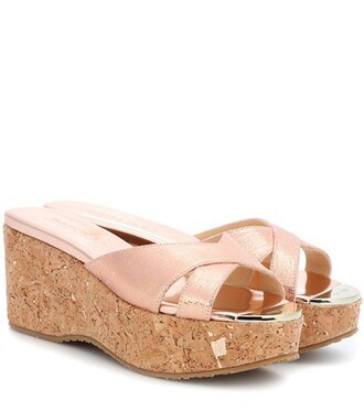 sandals wedge sandals leather metallic shoes