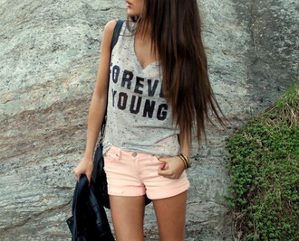 shirt top shorts forever young pretty muscle tee grey marled summer top