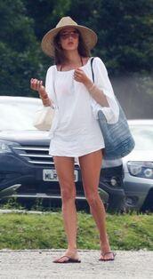 top,cover up,tunic dress,summer outfits,alessandra ambrosio,mini dress,dress,white dress