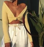 pants,cream/white long loose,top,yellow top