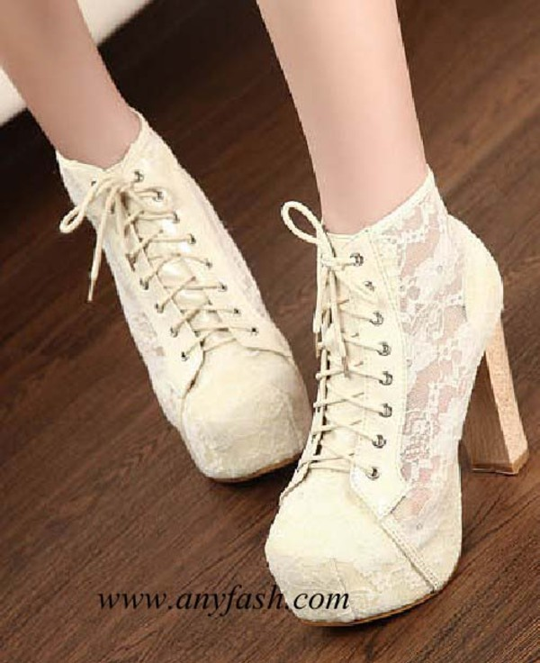 shoes boot lace boot hollow heel high heels
