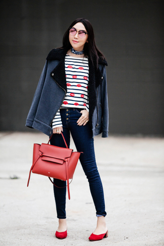 fit fab fun mom blogger t-shirt jacket coat jeans bag sunglasses jewels striped top red shoes red bag