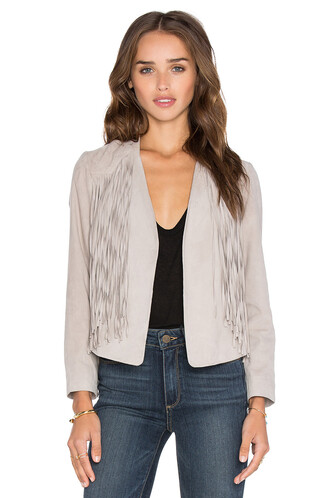 jacket fringed jacket suede taupe