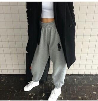 pants grey sweatpants ralph lauren polo grey polo shirt ralph louren sweats sweatpants ralph lauren jacket joggers trendy coat crop tops fashion sweater leggings
