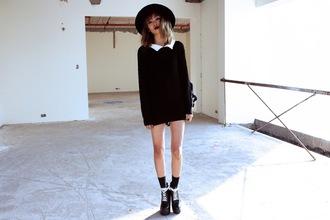 bloody rosess blogger platform shoes collar hat sweater dress