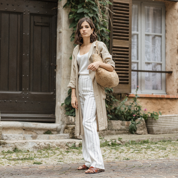 bag pants stripes top robe stella forest bag sandals flat sandals