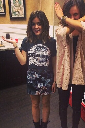 lucy hale mini skirt boots floral skirt t-shirt cardigan