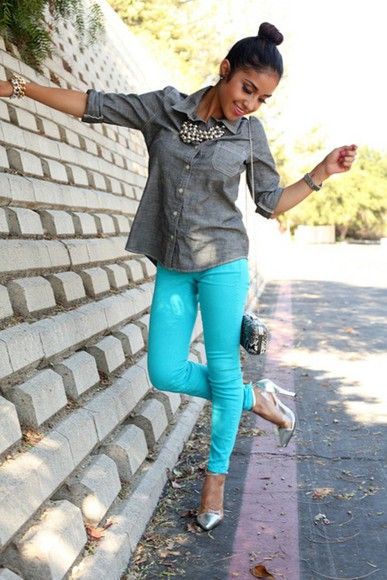 turquoise jeans bright blue turquoise jeans bright blue coloured jewels