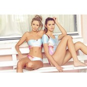 swimwear,tropical,light blue,bikini,pastel swimwear