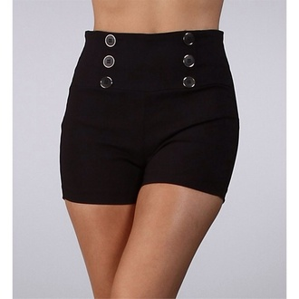 gold buttons shorts black high waisted shorts