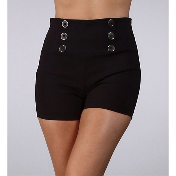 shorts High waisted shorts gold buttons black black high waisted shorts