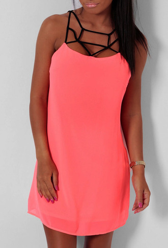 dress cage dress coral neon