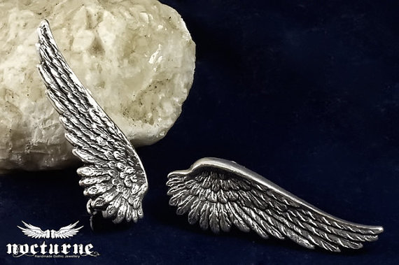 Clip On Angel Wing Earrings  Victorian by NocturneHandcrafts
