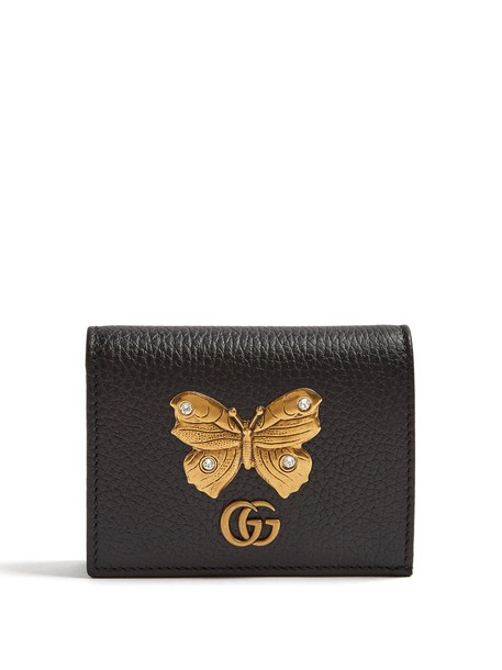 gucci butterfly purse leather gold black bag