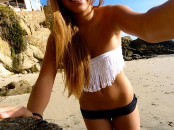 swimwear bikini beach beach beach fuck yes i like nice white black fringled