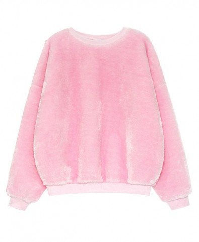 Fluorescent Plush Round Neckline Sweatshirt - Sweatshirts & Hoodies - Clothing