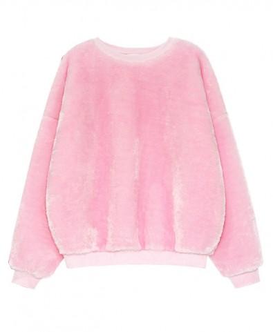 Fluorescent Plush Round Neckline Sweatshirt - Sweatshirts & Hoodies - Clothing