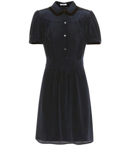 lace silk blue dress