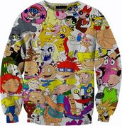 sweater,90s style,cartoon,power puff girlsc,hicken and cow,rugrats,johnny bravo,dexter's labratory,chicken and cow,the wild thornberry's,cat-dog,tom and jerry,sweatshirt,crewneck,memories,unisex,hey arnold,tv,cute,winter outfits,cold,white,sweet,tv shoe,nickelodeon,90's shirt