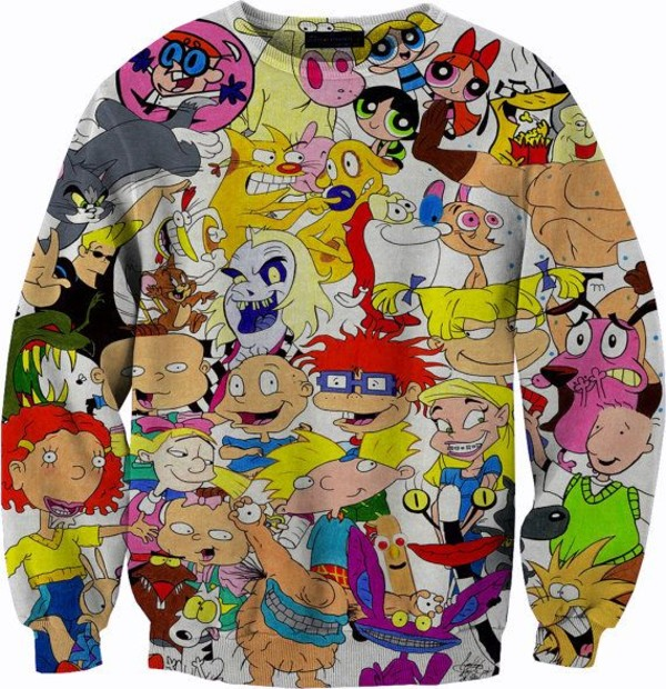 sweater 90s style cartoon power puff girlsc hicken and cow rugrats johnny bravo dexter's labratory chicken and cow the wild thornberry's cat-dog tom and jerry sweatshirt crewneck memories unisex 90s style hey arnold tv 90s style cute winter outfits cold white sweet tv shoe cartoon cartoon nickelodeon 90's shirt shirt alternative children childhood
