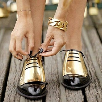shoes flats oxfords black gold gold plated shoe bracelets chain patent flats jewels