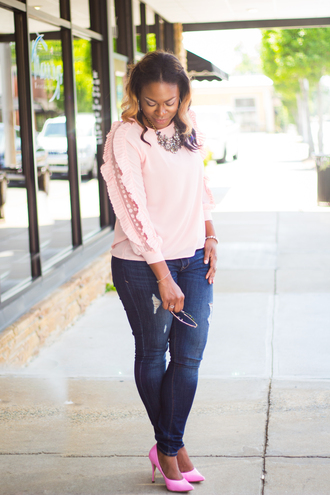lovelyyou blogger top jeans shoes pink sweater pink heels high heel pumps