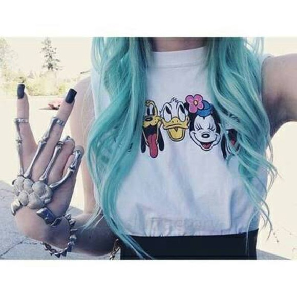 white t-shirt smiley face jewels top haut blue blue hair colored hair hand jewelry long hair beautiful anime disney mini mouse cool shirts cool grunge pastel goth pastel grunge new girl pale grunge