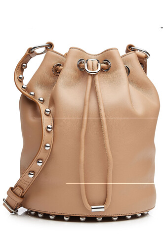 bag bucket bag leather beige