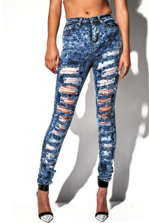 Cute dark acid wash destroyed high waisted denim skinny jeans fo ...