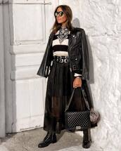 jacket,black leather jacket,black boots,black bag,maxi skirt,black skirt,black belt,sweater,necklace