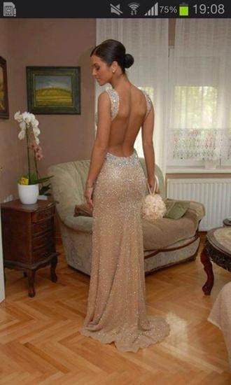 dress long dress formal no back dress beige dress cream dress gold sequins gown prom dress formal dress