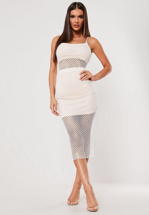 Sxf X Missguided White Fishnet Strappy Midaxi Dress