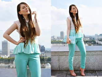 magdarling blogger jewels turquoise ruffle lace-up shoes lace top pouch