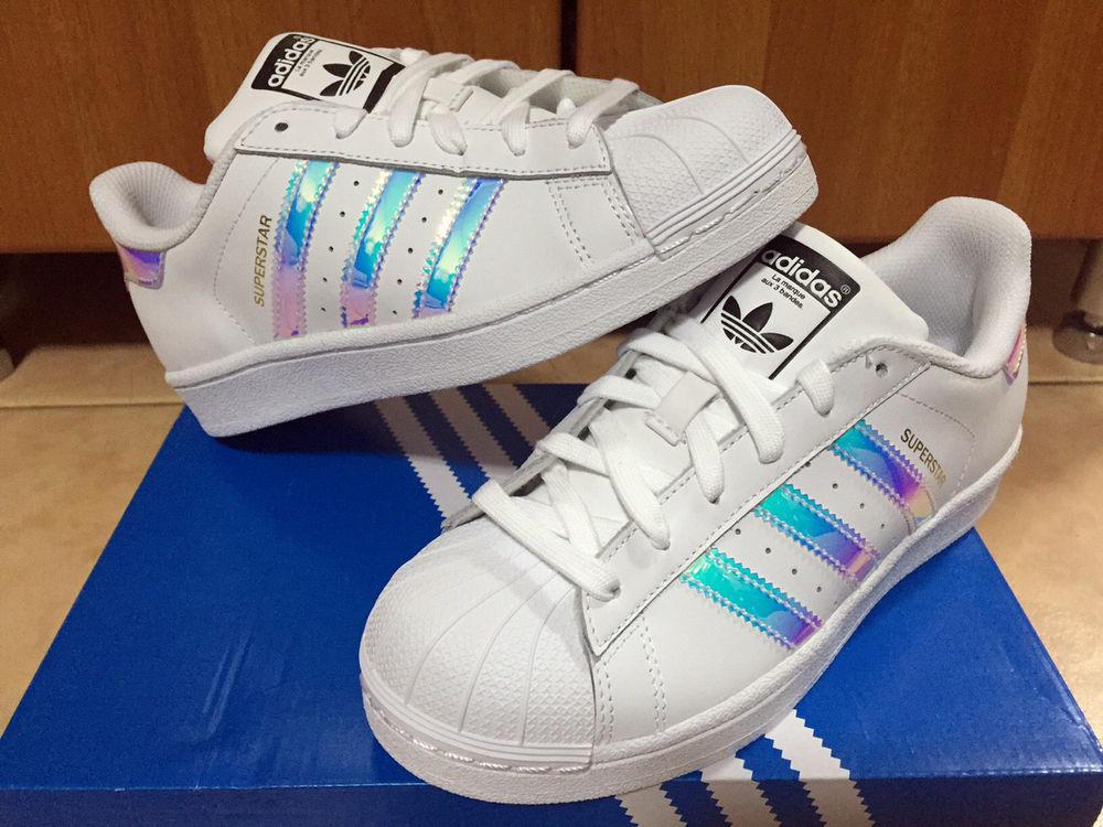 8183a557037 ... greece adidas superstar white hologram iridescent gs sz 3.5 7y boys  girls women aq6278 4740e c1103