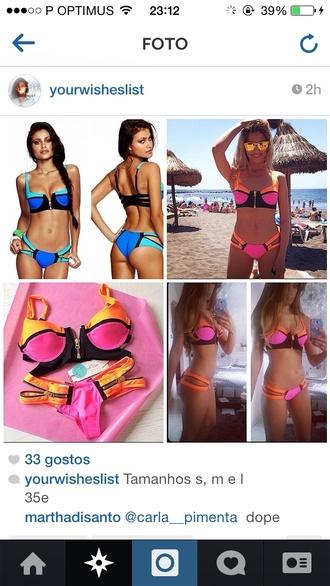 swimwear bikini zip coral pink bandeau