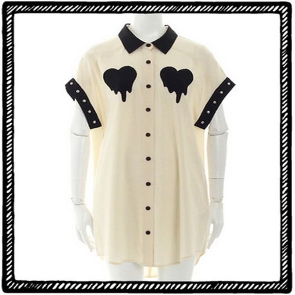 blouse white blouse heart blouse goth hipster hipster
