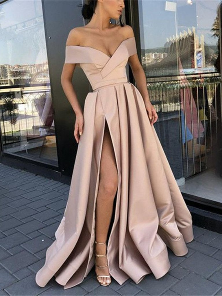 Off Shoulder Champagne High Slit Prom Dresses, Off Shoulder Formal Dresses, Graduation Dresses