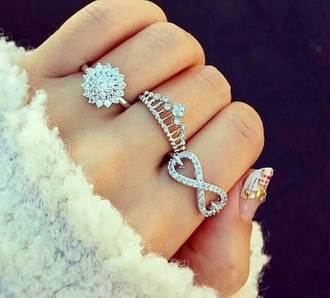 jewels silver ring ring tiara ring tiara crown ring crown silver infinity ring infinity finger rings diamonds sparkle jewelry