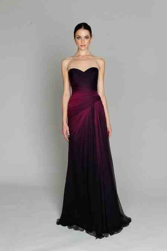 dress plum ombre dress bridesmaid gown wedding dress