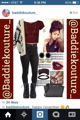 chanel black cardigan wedges crop tops red maroon/burgundy burgundy aztec curly hair high waisted pants handbag