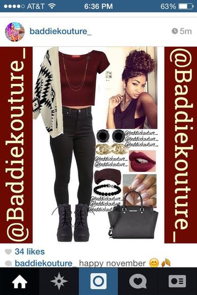 chanel red maroon/burgundy burgundy cardigan aztec curly hair crop tops black high waisted pants wedges handbag