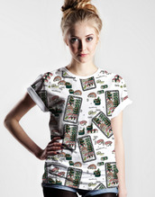t-shirt,modern,yeah bunny,sushi,print,pattern,look,lookbook,hipster,flavour,fashion,fashionista,blonde hair,girly,sweet,nice,check it out