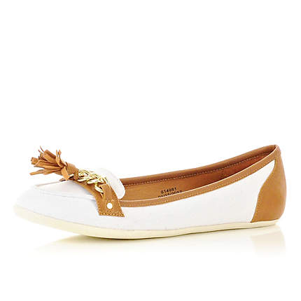 white chain loafers - brogues / loafers - shoes / boots - women - River Island