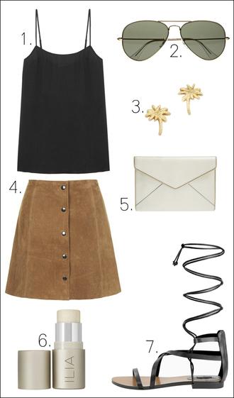 le fashion blogger tank top sunglasses jewels skirt bag
