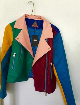 jacket multicolor colorblock colorful perfecto leather jacket leather fashiob fashion style trendy cute rainbow fall outfits fall jacket fall colors fall coat multicolor jacket tan fashin vibe faux leather jacket patchwork