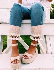 jeans,spring,pink,summer,blue,denim,abstract,pattern,pastel pink,pants,tassel,lightpink