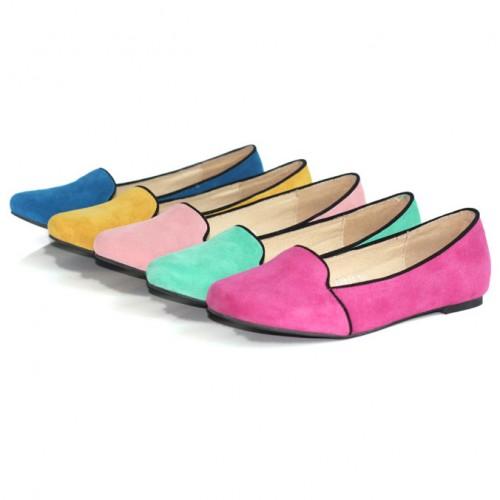 Suede loafer flat / loafer
