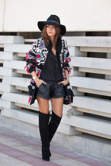 aztec jacket bag jewels lovely pepa blogger leather shorts thigh high boots
